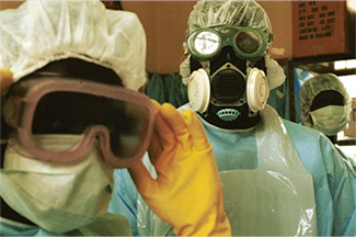 Doctors wearing hazmat suits during the ebola outbreak.