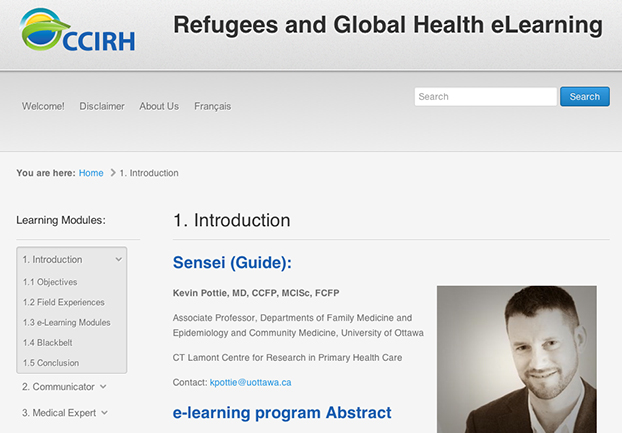 Screenshot of the Refugees and Global Health eLearning introductory module.