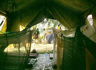 A tent with mosquito nets.
